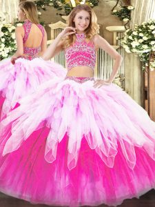 Perfect Tulle Sleeveless Floor Length Quinceanera Dress and Beading and Ruffles