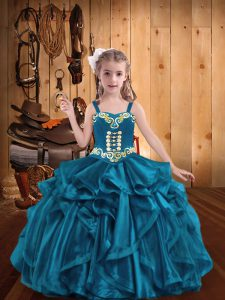 Floor Length Teal Evening Gowns Organza Sleeveless Embroidery and Ruffles