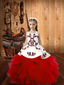 Red Ball Gowns Organza Straps Sleeveless Embroidery and Ruffles Floor Length Lace Up Child Pageant Dress