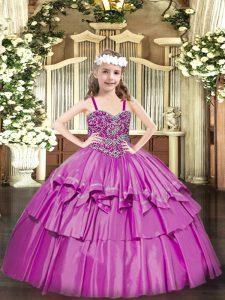 Dramatic Straps Sleeveless Kids Pageant Dress Floor Length Beading and Ruffled Layers Fuchsia Organza