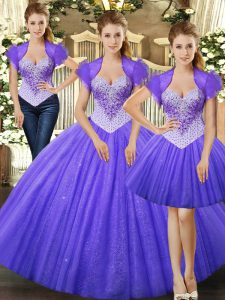 Deluxe Fuchsia Straps Lace Up Beading Sweet 16 Quinceanera Dress Sleeveless