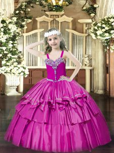 Fuchsia Pageant Dress for Womens Party and Quinceanera with Beading and Ruffled Layers Straps Sleeveless Lace Up