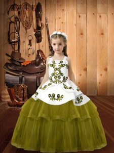 Olive Green Sleeveless Embroidery Floor Length Little Girls Pageant Gowns