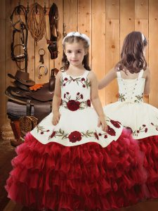 Sleeveless Ruffled Layers Lace Up Little Girl Pageant Dress