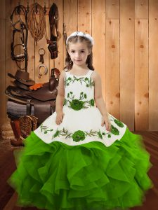 Fantastic Tulle Lace Up Girls Pageant Dresses Sleeveless Floor Length Embroidery and Ruffles
