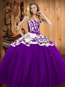 Sweetheart Sleeveless Lace Up 15th Birthday Dress Eggplant Purple Satin and Tulle