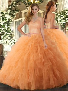 Tulle Sleeveless Floor Length Quinceanera Gown and Ruffles