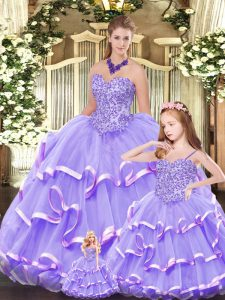 Suitable Sleeveless Lace Up Floor Length Beading and Ruffled Layers Quinceanera Gowns