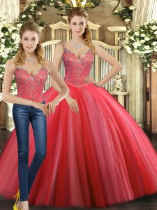 Luxurious Coral Red Ball Gowns Tulle Straps Sleeveless Beading Floor Length Lace Up Quinceanera Dress