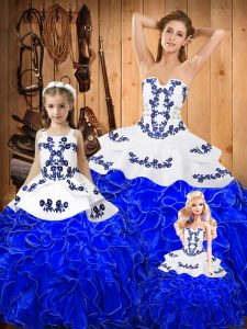 New Style Embroidery and Ruffles Vestidos de Quinceanera Royal Blue Lace Up Sleeveless Floor Length