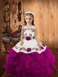Purple Lace Up Straps Embroidery and Ruffles Little Girls Pageant Dress Tulle Sleeveless