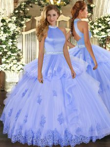 Elegant Lavender Backless Halter Top Beading and Appliques Quinceanera Dress Tulle Sleeveless