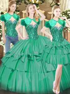 Sweetheart Sleeveless Tulle Sweet 16 Quinceanera Dress Beading and Ruffled Layers Lace Up