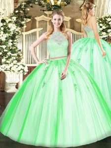 Sleeveless Floor Length Lace and Appliques Zipper Sweet 16 Dresses with
