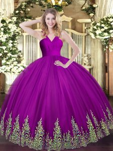 Exquisite Floor Length Zipper Quinceanera Gowns Fuchsia for Military Ball and Sweet 16 and Quinceanera with Appliques