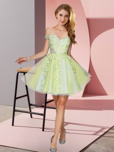 Sleeveless Mini Length Appliques Zipper Court Dresses for Sweet 16 with Yellow Green
