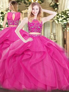 Modest Scoop Sleeveless Tulle 15 Quinceanera Dress Beading and Ruffles Zipper