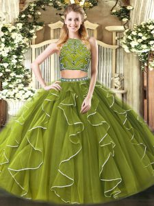 Fantastic Sleeveless Beading and Ruffles Zipper Quinceanera Dress