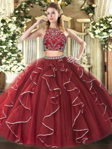 High-neck Sleeveless Sweet 16 Quinceanera Dress Floor Length Beading and Ruffles Burgundy Tulle