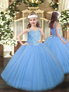 Latest Floor Length Ball Gowns Sleeveless Baby Blue Little Girls Pageant Dress Wholesale Lace Up