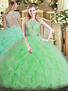 Best Beading and Ruffles Quinceanera Gown Apple Green Backless Sleeveless Floor Length