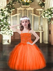 Top Selling Orange Red Spaghetti Straps Neckline Beading and Ruffles Pageant Gowns For Girls Sleeveless Lace Up