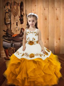 Elegant Gold Organza Lace Up Little Girl Pageant Dress Sleeveless Floor Length Embroidery and Ruffles