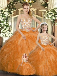 Orange Red Lace Up Straps Beading and Ruffles Quince Ball Gowns Organza Sleeveless