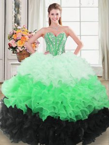 Multi-color Sleeveless Organza Lace Up 15 Quinceanera Dress for Sweet 16 and Quinceanera
