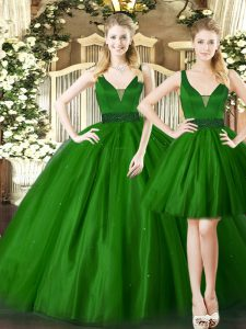 Dark Green Lace Up Quince Ball Gowns Ruching Sleeveless Floor Length