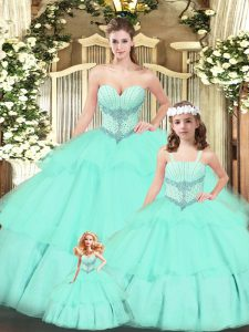 Floor Length Aqua Blue 15th Birthday Dress Tulle Sleeveless Beading and Ruching
