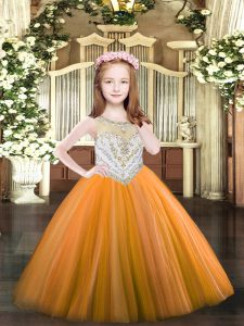 Floor Length Orange Pageant Dresses Tulle Sleeveless Beading