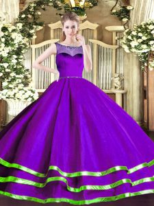 Purple Sleeveless Floor Length Beading and Ruffled Layers Zipper Quinceanera Gowns