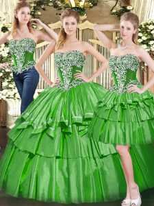 Captivating Ball Gowns Sweet 16 Dress Green Strapless Tulle Sleeveless Floor Length Lace Up