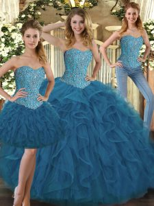 Smart Sweetheart Sleeveless Vestidos de Quinceanera Floor Length Beading and Ruffles Teal Tulle