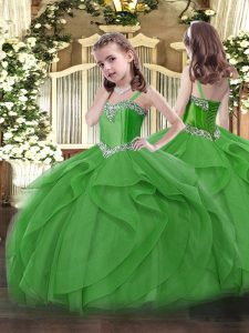 Most Popular Green Little Girls Pageant Gowns Military Ball and Sweet 16 and Quinceanera with Beading and Ruffles Straps Sleeveless Lace Up