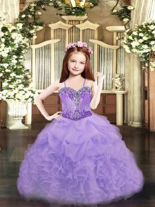 Custom Fit Spaghetti Straps Sleeveless Organza Child Pageant Dress Beading and Ruffles and Pick Ups Lace Up