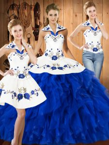 Pretty Blue And White Halter Top Lace Up Embroidery and Ruffles Sweet 16 Dresses Sleeveless