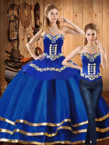 Blue Satin and Tulle Lace Up Sweet 16 Dresses Long Sleeves Floor Length Embroidery