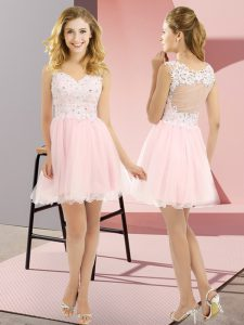 Custom Designed Sleeveless Lace Up Mini Length Beading and Lace Damas Dress