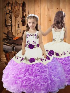 Perfect Lilac Straps Lace Up Embroidery and Ruffles Girls Pageant Dresses Sleeveless