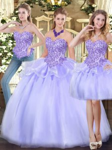 Lavender Zipper Quinceanera Dress Appliques and Ruffles Sleeveless Floor Length