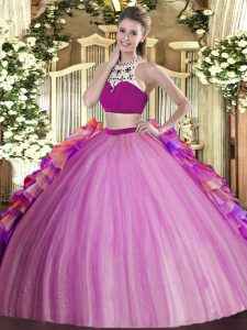 Sumptuous Sleeveless Backless Floor Length Beading and Ruffles Vestidos de Quinceanera
