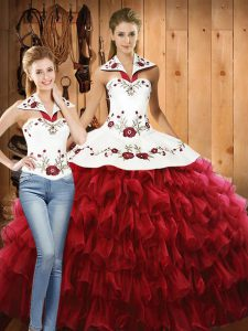 Fantastic Sleeveless Lace Up Floor Length Embroidery and Ruffled Layers Sweet 16 Dresses