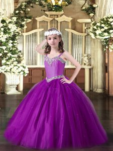 Adorable Eggplant Purple Straps Neckline Beading Little Girls Pageant Gowns Sleeveless Lace Up
