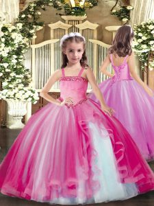 Tulle Sleeveless Floor Length Little Girls Pageant Gowns and Appliques
