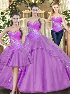 Sophisticated Lilac Sleeveless Tulle Lace Up Quinceanera Gowns for Military Ball and Sweet 16 and Quinceanera