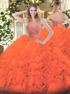 Great Orange Red Ball Gowns Tulle Halter Top Sleeveless Beading and Ruffles Floor Length Zipper Quinceanera Gowns