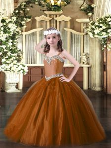 Beautiful Straps Sleeveless High School Pageant Dress Floor Length Beading Brown Tulle