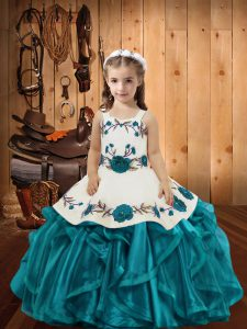 Straps Sleeveless Little Girls Pageant Gowns Floor Length Embroidery and Ruffles Teal Organza